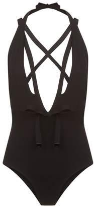 La Perla Aquamarine Black Plunging Halter-Neck Swimsuit With Waist Ties