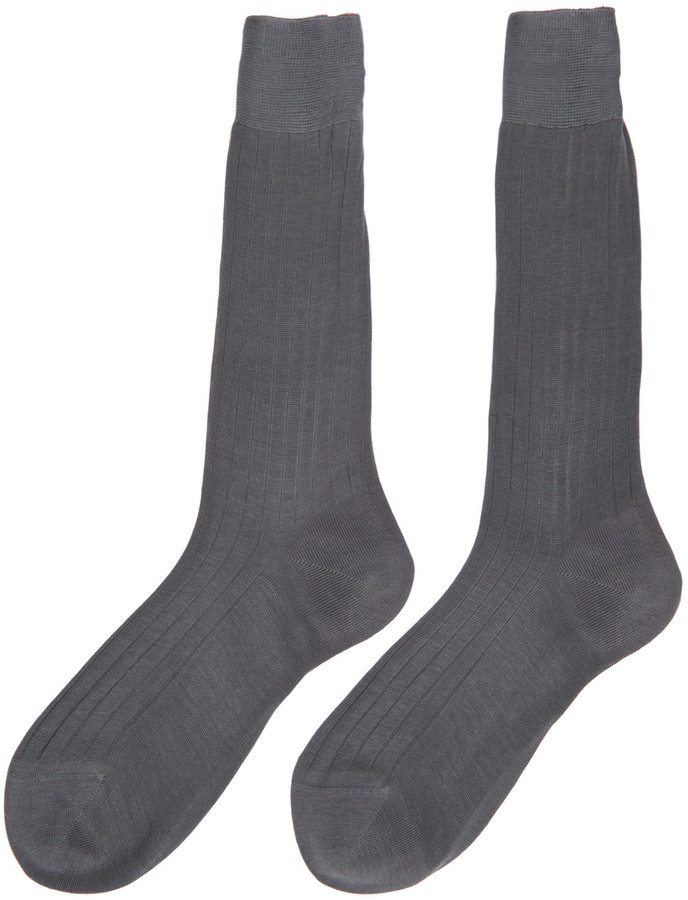 Thom Browne Grey Ribbed Socks 3