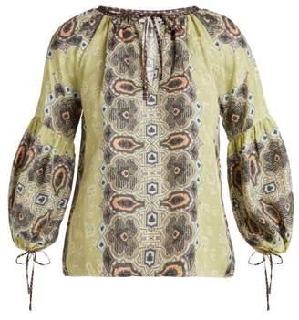 D'ascoli - Misha Balloon Sleeve Silk Top - Womens - Green Print