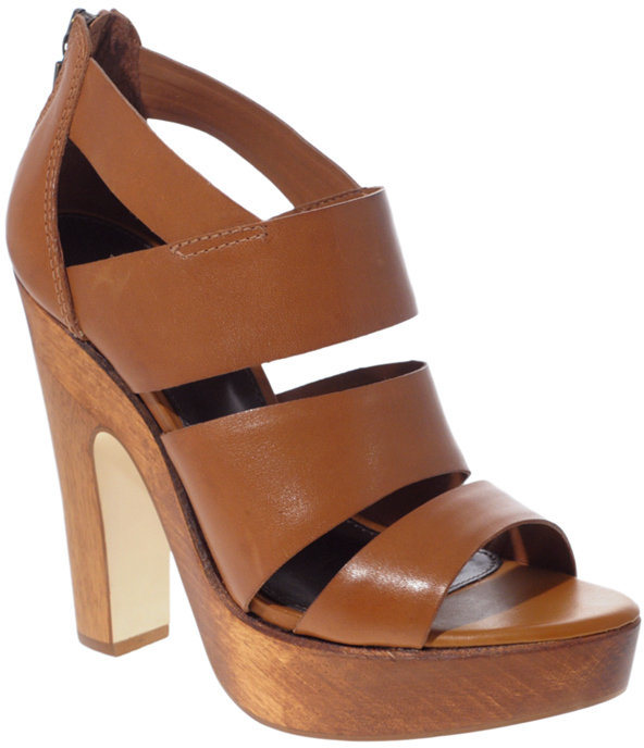 ASOS HAWAII Leather Wooden Platform Sandals