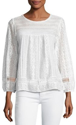 Joie Ganden Long-Sleeve Lace Top, White $268 thestylecure.com