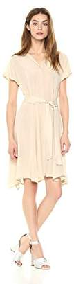 Daisy Drive Women's Cupro Short Sleeve Dress with Open V Neckline