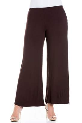 24/7 Comfort Apparel 24seven Comfort Apparel Plus Size Clothing for Women Wide Leg Palazzo Pants Elastic Waistband - Made in USA -Large