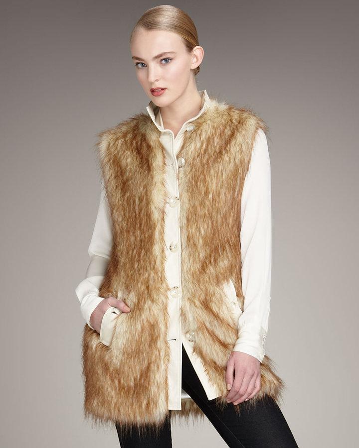 Rachel Zoe Faux-Fur Vest, Ecru