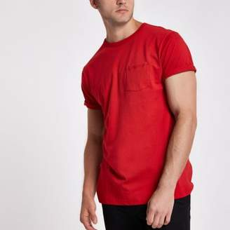River Island Mens Red crew neck chest pocket T-shirt