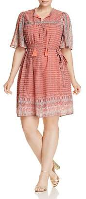 Lucky Brand Plus Jenna Geo Print Peasant Dress
