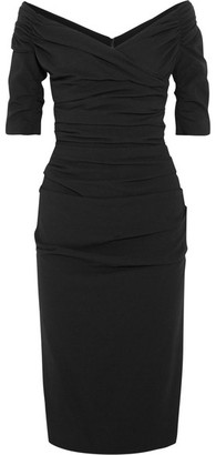 Dolce & Gabbana - Ruched Off-the-shoulder Wool-blend Crepe Midi Dress - Black $2,445 thestylecure.com