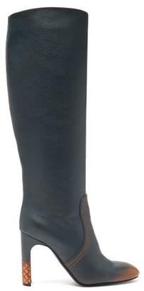 Bottega Veneta Intrecciato Heel Ombre Leather Knee High Boots - Womens - Dark Blue