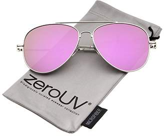 Zerouv Large Full Metal Color Mirror Teardrop Flat Lens Aviator Sunglasses