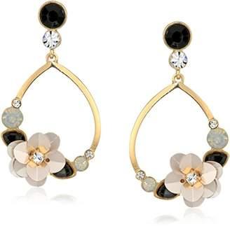GUESS Floral La Femme Women's Teardrop Ear With Stones And Sequin Flower Drop Earrings