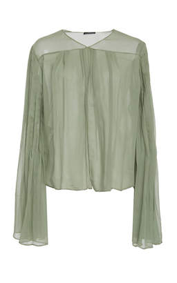 Frederick Anderson Chiffon Pleat Wrap Top