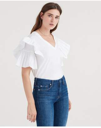 7 For All Mankind Square Ruffle Top In White