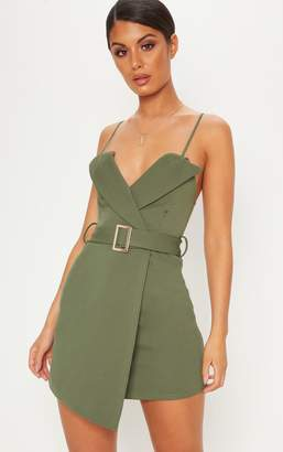 PrettyLittleThing Khaki Tux Detail Belted Wrap Bodycon Dress