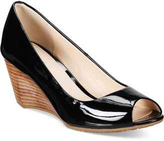 Cole Haan Sadie Open-Toe Wedge Pumps Women's Shoes $180 thestylecure.com