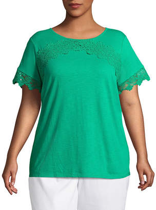 Liz Claiborne Lace Trim Tee- Plus