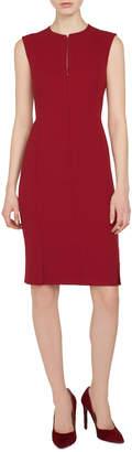 Akris Sleeveless Round-Neck Zip-Front Four-Slit Hem Sheath Wool Dress