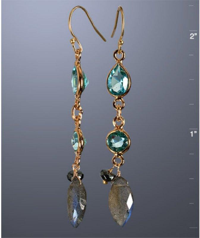 Grace Chan blue quartz linear drop earrings