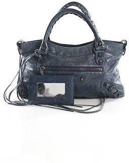 Balenciaga Balenciaga Blue Leather Mini Moto Brass City Whipstitch Handles Satchel Handbag
