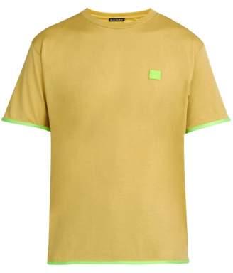 Acne Studios Elmo Face Chest Patch Cotton Jersey T Shirt - Mens - Beige