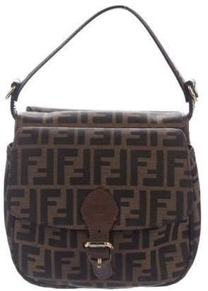 Fendi Leather-Trimmed Zucca Flap Bag