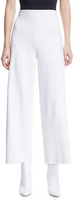 Rosetta Getty High-Rise Wide-Leg Interlock Jersey Cropped Trousers
