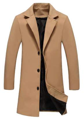 Esast Men's Fashion Trench Coat Wool Business Gentlemen Winter Long Pea Coat XXL