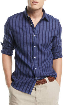 Brunello Cucinelli Leisure-Fit Striped Sport Shirt