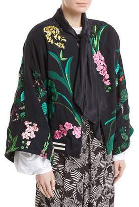 Johanna Ortiz Perla Negra Satin Twill Embroidered Short Kimono Cape