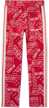 Webbing-Trimmed Printed Tech-Jersey Track Pants
