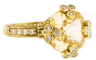 Judith Ripka 18K Canary Crystal & Diamond Cocktail Ring yellow 18K Canary Crystal & Diamond Cocktail Ring