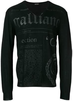 John Galliano branded v-neck jumper