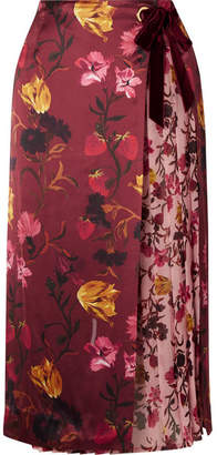 Mother of Pearl Mittie Printed Satin And Pleated Georgette Wrap Skirt - Burgundy