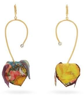 Marni Floral Print Flower Drop Earrings - Womens - Red