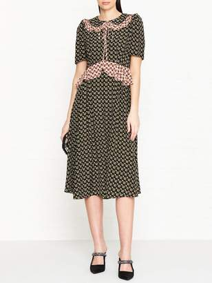 Orla Kiely Regine Flower Print Short Sleeve Dress - Black