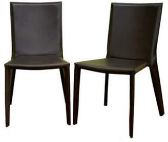 Baxton Studio Semele Dark Brown Leather Dining Chair (Set of 2)