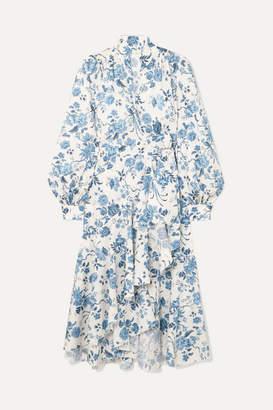 Anna Mason - Stella Floral-print Cotton Wrap Dress - Blue