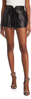 Ramy Brook Reggie Faux-Leather Tie-Front Shorts
