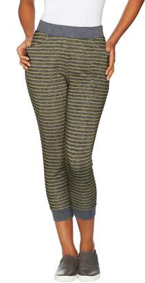 Logo By Lori Goldstein LOGO Lounge by Lori Goldstein French Terry Striped Joggers with Rib Detail