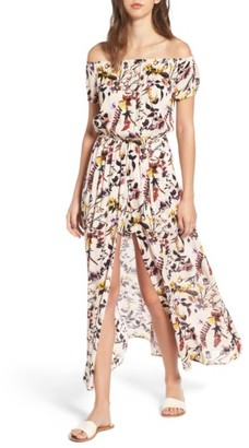 Women's Love, Fire Floral Print Off The Shoulder Maxi Romper $59 thestylecure.com