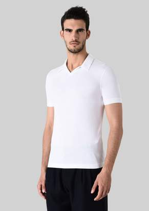 Giorgio Armani Stretch Viscose Jersey Polo T-Shirt