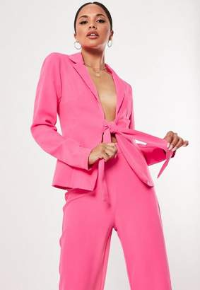 Missguided Hot Pink Tie Front Co Ord Blazer