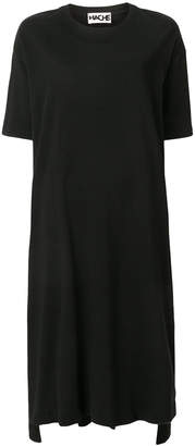 Hache short-sleeve flared midi dress