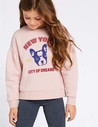 Marks and Spencer Cotton Rich Bulldog Sweatshirt (3-16 Years)