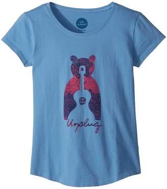 Life is Good Unplug Bear Smiling Smooth Tee Girl's T Shirt