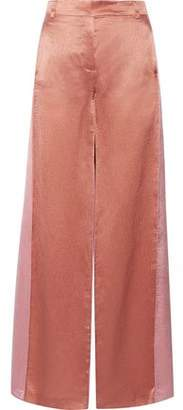Valentino Two-Tone Hammered-Satin Wide-Leg Pants