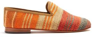 Artemis Design Shoes - Striped Patterned Woven Kilim And Leather Loafers - Mens - Multi