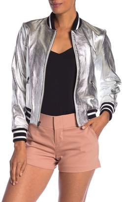 Alice + Olivia Demia Leather Metallic Bomber Jacket