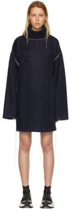 Maison Margiela Blue Sparkling Knit Jersey Oversized Dress