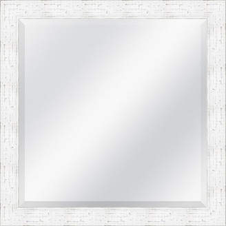 Asstd National Brand White Distressed Rustic Beveled Plate Square Mirror