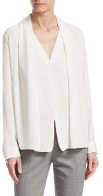 Fabiana Filippi Women's Silk Shawl Front Blouse - White - Size 42 (6)